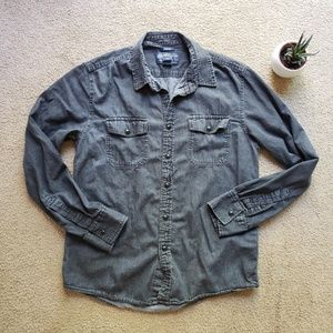 American Rag gray washed long sleeve button down